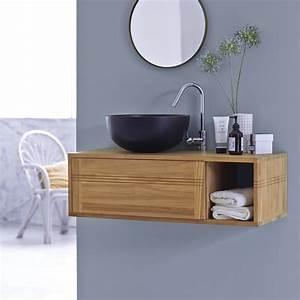 meuble sous vasque suspendu en teck pas galerie avec With meuble salle de bain suspendu avec vasque