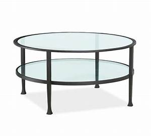 Tanner round coffee table bronze finish pottery barn for Circular glass top coffee table
