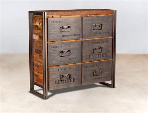 meuble commode en bois recycl 233 s 6 tiroirs m 233 tal industryal