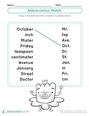 abbreviations days of the week worksheet education com