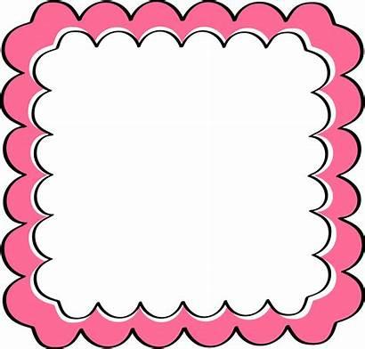 Border Clip Frame Frames Clipart Scalloped Pink