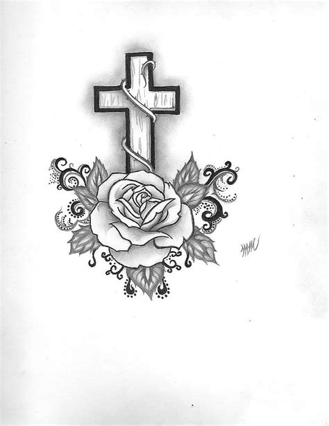 A Rose And A Cross Drawing by Marissa McAlister