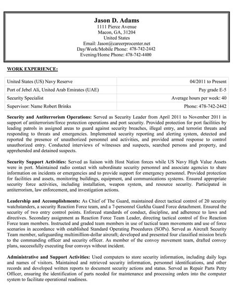 Federal Style Resume by Federal Usajobs Resume Exles Careerpro Plus