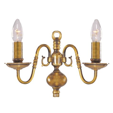 searchlight flemish solid antique brass 2 light wall