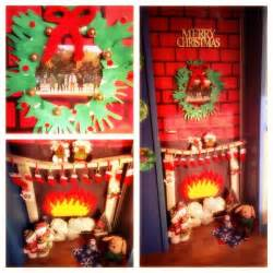 merry christmas fireplace with stockings door decoration