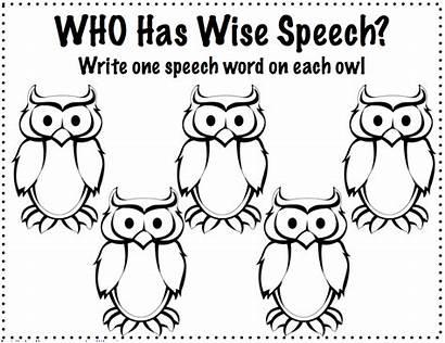 Speech Friend Articulation Activities Coloring Language Owl