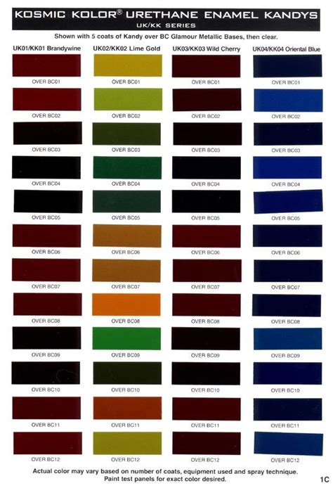 house of kolor kandy paint color chart art pinterest