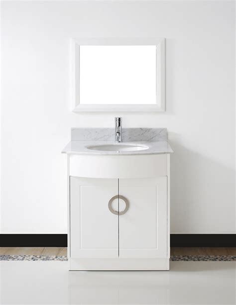 "Zoe 28"" Small White Bathroom Vanity Stone Countertop"