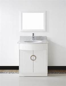 Zoe 28quot small white bathroom vanity stone countertop for White vanity cabinets for bathrooms
