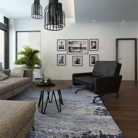 abstract blue rug   stylishly modern living room