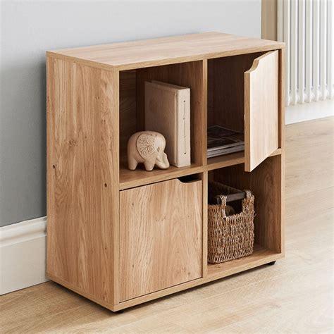 cube shelf unit oak 4 cube 2 door wooden storage unit display shelving