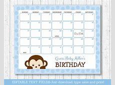 Monkey Baby Due Date Calendar Calendar Template 2018