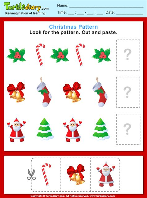 christmas pattern cut  paste      worksheet