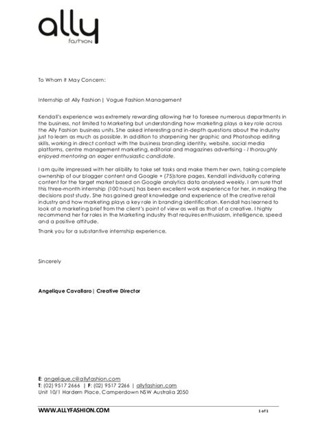 Cover Letter For Fashion Internship by Letter Of Recommendation
