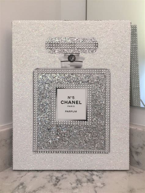 canvas wrapped embellished art print chanel   perfume