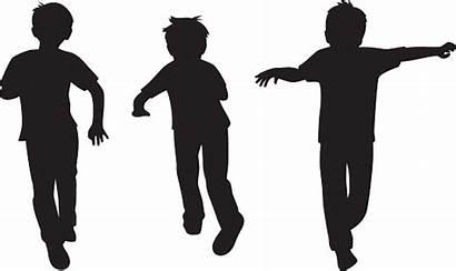Brothers Three Silhouette Cartoon Jumping Kid