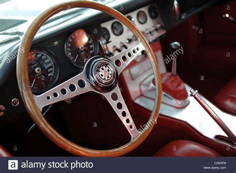 Detail Shot Of Steering Wheel And Gear Box Of A Jaguar E