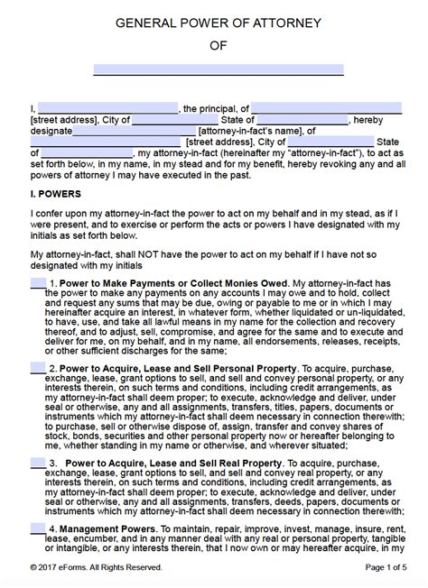 general power of attorney template free printable general power of attorney forms