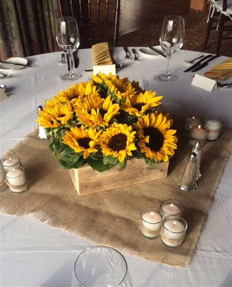 reclaimed wooden box filled  sunflowers fall wedding