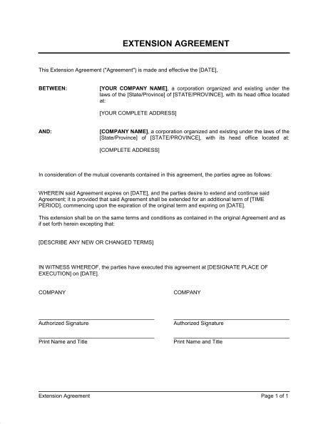 contract extension template  printable documents