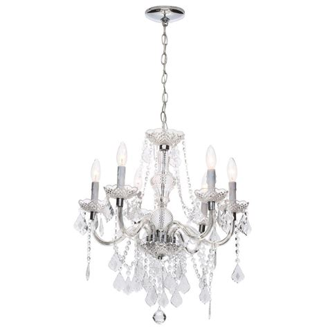 home depot chandelier hton bay theresa 6 light chrome chandelier