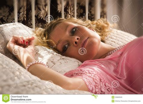 Sexual Blonde Lying On A Bed Stock Image Image