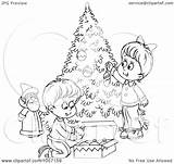 Outline Christmas Tree Coloring Trimming Children Clip Illustration Royalty Clipart Bannykh Alex Funny Trimmers Quotes Quotesgram Copyright sketch template