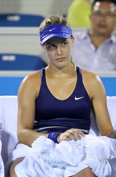 Eugenie Bouchard of Canada reacts during her match against ...