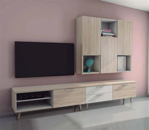 mueble salon comedor nordico de  cms color roble
