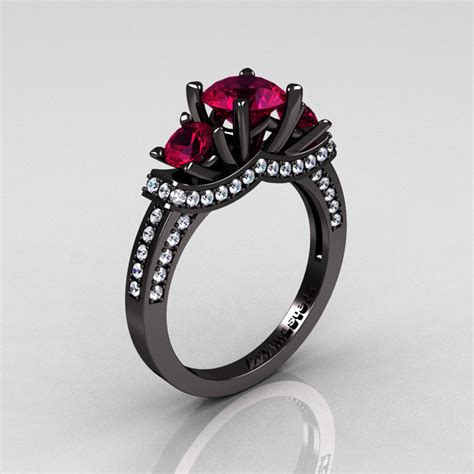 French 14k Black Gold Three Stone Raspberry Red Garnet. Wedding Background Wedding Rings. Non Conventional Engagement Rings. Banded Engagement Rings. Raw Rings. Golding Engagement Rings. Diy Wedding Wedding Rings. Class Rings. Shop Engagement Rings