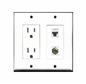 riteav 2 x 15 amp 125v power outlets 1 cat5e ethernet With wiring cat5e wall socket