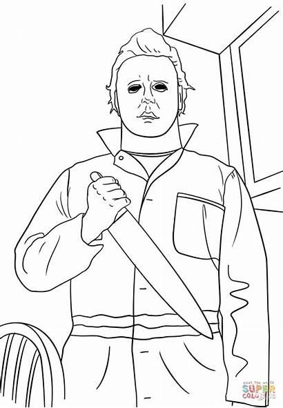 Myers Coloring Michael Horror Halloween Colorear Dibujos