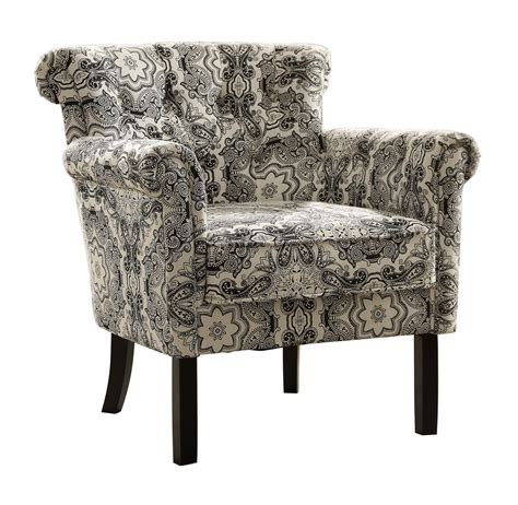 homelegance barlowe accent chair black paisley print