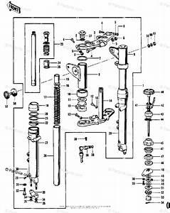 Kawasaki Motorcycle 1972 Oem Parts Diagram For Front Fork  H1