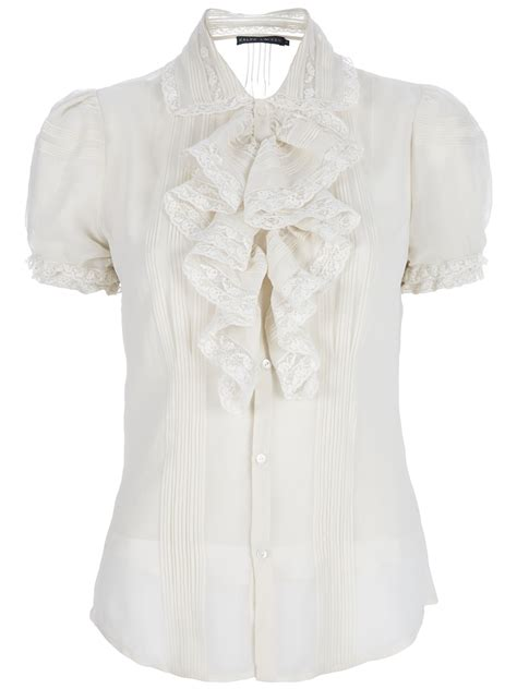 ruffled white blouse ralph lace ruffled blouse in white lyst