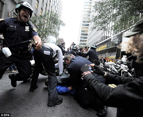 nypd equipment section throwing punches and mowing them with motorbikes the
