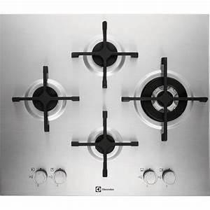 Plaque de cuisson gaz 4 foyers, inox, ELECTROLUX