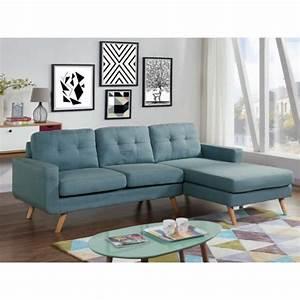 Canapé Bleu Clair : canap d 39 angle en tissu sigrid bleu clair angle droit ~ Teatrodelosmanantiales.com Idées de Décoration