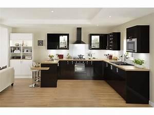 sol parquet cuisine noire plan de travail bois deco With deco cuisine equipee