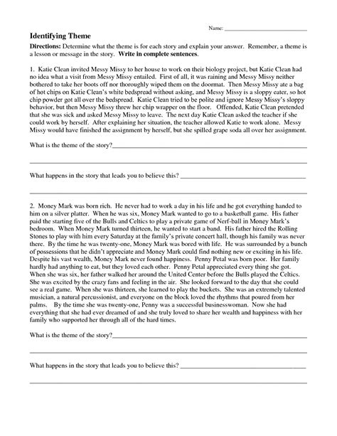 theme worksheets with answers worksheet identifying theme worksheets grass fedjp