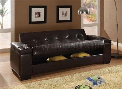 dark brown vinyl contemporary sofa bed w hidden storage