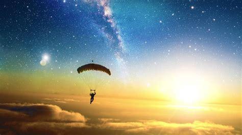 Liquicity parachute stars clouds digital art Sun skydiving ...