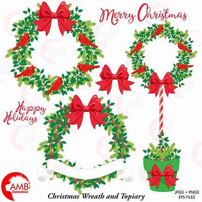 Christmas Wreath Clipart Topiary Clip Floral Wreaths
