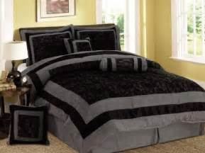 comforter sets 7 pieces black and grey micro suede comforter set bed in a bag queen size bedding