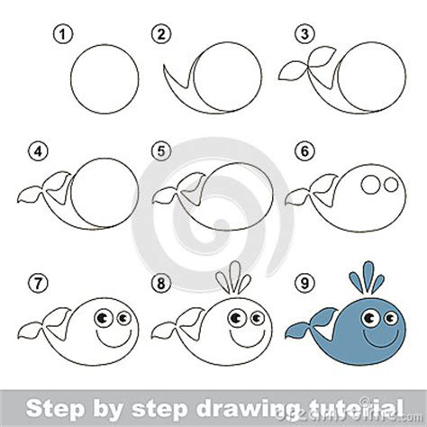draw  funny whale stock vector image