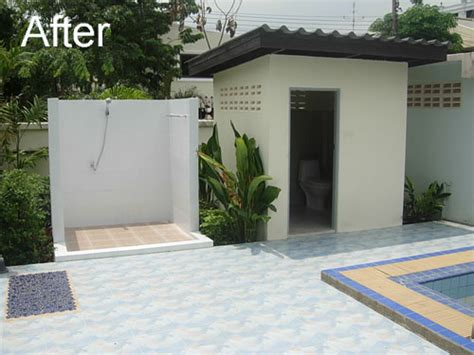 outdoor pool bathroom ideas outdoor bathrooms with toilets the shower is finished with white tiles a new shower system