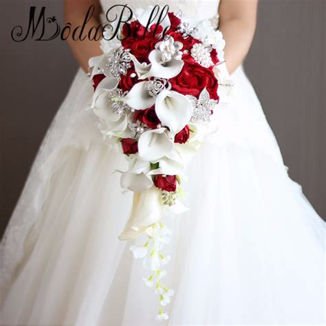 Vintage Artificial Flowers Waterfall Wedding Bouquets With