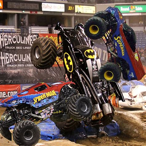 superman monster truck videos batman superman spiderman monster trucks by nascarfan388