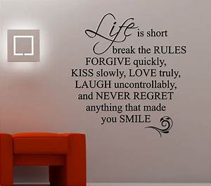 Life is short love quote wall art sticker vinyl lounge