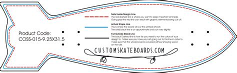 skateboard design template   shape  size